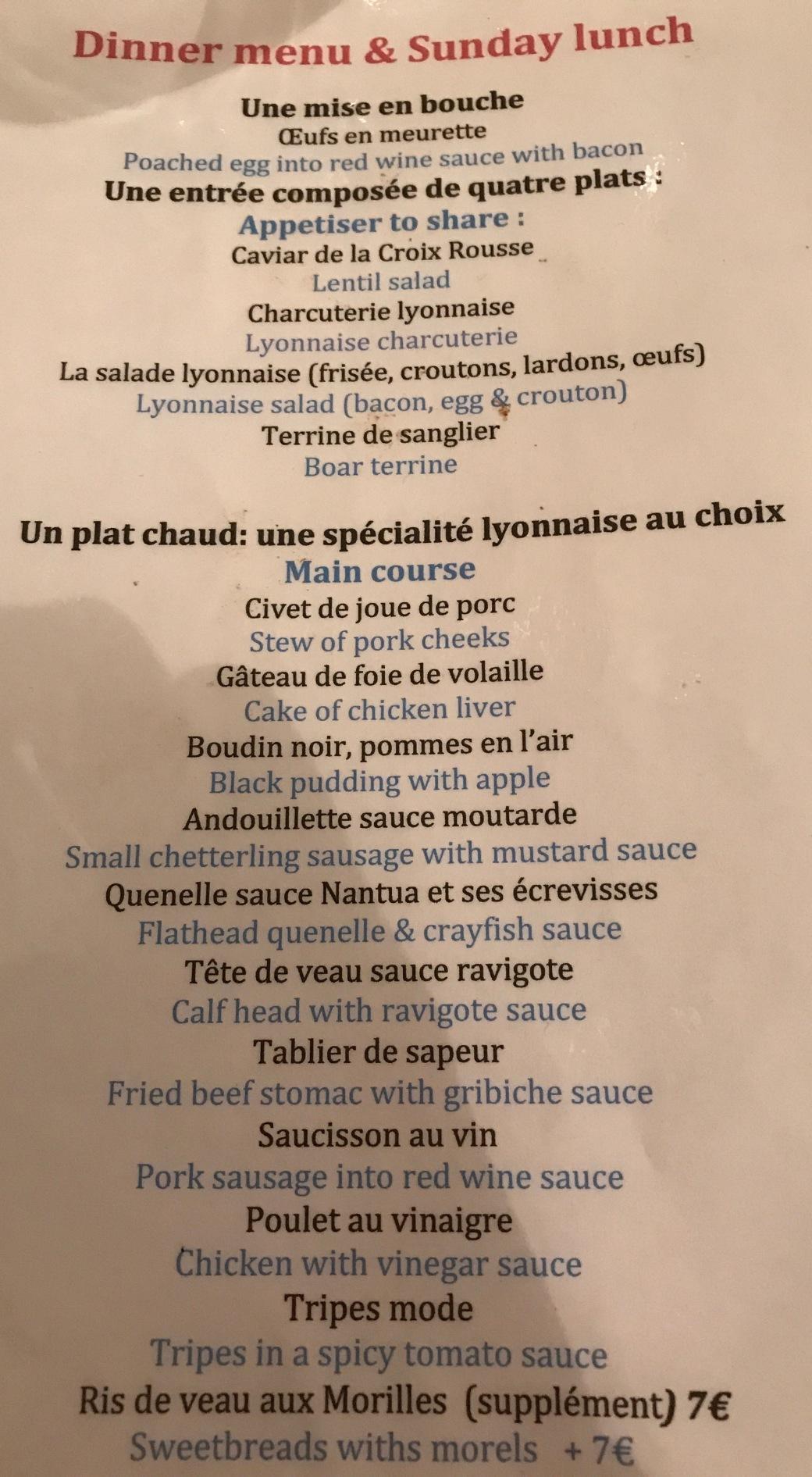 fed menu